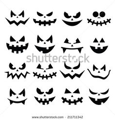 Find Scary Halloween Pumpkin Faces Icons Set stock images in HD and millions of other royalty-free stock photos, illustrations and vectors in the Shutterstock collection. Thousands of new, high-quality pictures added every day. Citouille Halloween, Visage Halloween, Halloween Mignon, Moldes Halloween, Scary Halloween Pumpkins, Manualidades Halloween, Adornos Halloween, Halloween Stickers, Halloween Birthday
