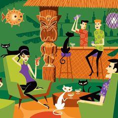 """Tiki Cats and Kittens,"" Josh Agle / Shag Mid Century Modern Art, Mid Century Art, Tiki Art, Tiki Tiki, Tiki Hawaii, Tiki Bar Decor, Tiki Lounge, Tiki Room, Retro Illustration"