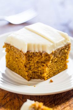 Easy Pumpkin Spice Cake with Cream Cheese Frosting - Soft, moist, and bursting with pumpkin flavor! You'll want the frosting by the spoonful!! (who needs the cake when there's luscious cream cheese frosting!)