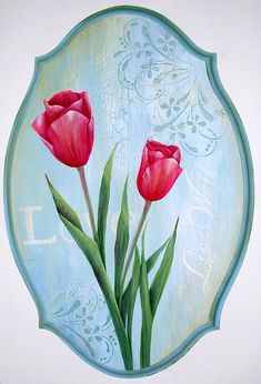 Spring in Pink Tulips Plaque -- Capture the beauty of Spring in a floral wall accent. Free project instructions from DecoArt