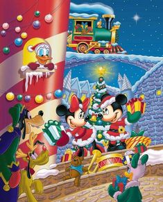 Disney Merry Christmas, Mickey Mouse Christmas, Christmas Cartoons, Vintage Christmas, Mickey Mouse Art, Mickey Mouse And Friends, Image Mickey, Disney Fun, Disney Pictures