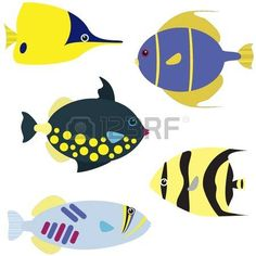 Vector set of tropical fish isolated on white