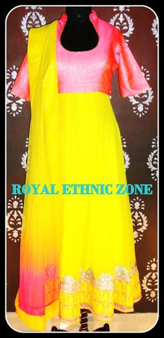 STYLE NO. 213 PINK AND YELLOW ANARKALI SUIT PRICE- 8500/- FABRIC- GEORGETTE, SILK