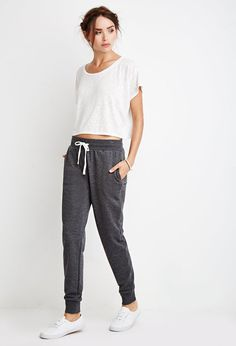 Heathered Drawstring Joggers | Forever 21 - 2000131491