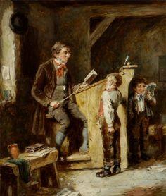 """The Schoolmaster's Reprimand"". Mark William Langlois (1848–1924).   #castig"