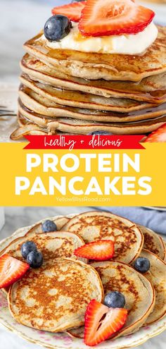 Healthy Protein Pancakes, High Protein Recipes, Protein Snacks, Healthy Protein Breakfast Ideas, Healthy Pancake Recipe, Banana Breakfast Recipes, Pancake Recipes, Healthy Food, Healthy Recipes
