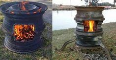 This DIY fire pit made from upcycled tire rims is one of the best backyard ideas I've seen. Repurpose old car parts to make this outdoor fire pit tutorial. Rim Fire Pit, Wheel Fire Pit, Cool Fire Pits, Car Part Furniture, Automotive Furniture, Automotive Decor, Furniture Ideas, Furniture Design, Bench Furniture
