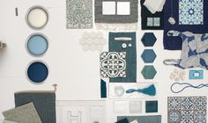 Blue hues in your bathroom is a timeless choice. Combine mosaic tiles and textured fabrics for an up-to-date look.