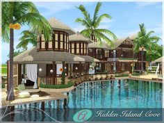 aloleng's Hidden Cove Resort Die Sims, Sims Cc, Sims 3 Mansion, Casas The Sims 3, Sims 3 Island Paradise, Sims 3 Cc Finds, Sims 4 House Building, Sims 4 Characters, Sims 4 Build