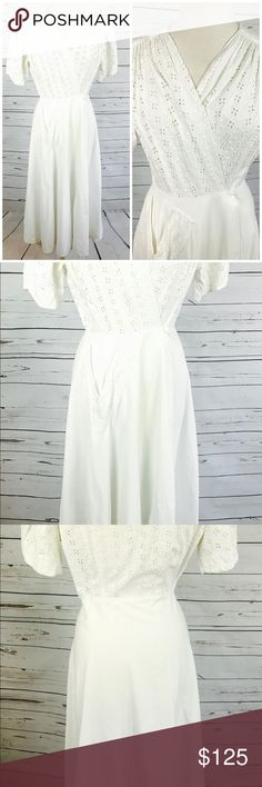 Medium 1930's white cotton eyelet 40's M dress Incredible white cotton eyelet floor length wrap dress, made in the 30's 40's by Brendelle. The inside of the dress has a tie at the waist, to ensure a form fit around the hip area. The front has a clasp closure, and there's a side pocket with white eyelet trim, that is in a V shape. I've washed this dress and I see no issues with it, incredible considering how old it is!   Fits a size Medium   Shoulders 15 in  Bust 40 in  Waist 26 in  Hips 52…