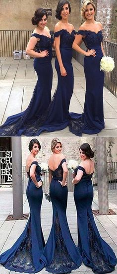 14d0bf4c514 Mermaid Off Shoulder Navy Blue Long Bridesmaid Dresses With Lace
