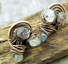 Labradorite Nest Copper post earrings by ThePurpleLilyDesigns, $16.50
