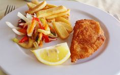 Breaded Chicken , Chips & Sauteed Vegetables