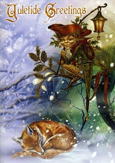 The Holly Jack Christmas Card - Yule/Winter Solstice - Cards by Occasion / Recipient - Home - Fairy and gothic cards, new age/pagan cards, f. Vintage Christmas Cards, Christmas Pictures, Christmas Art, Christmas Dragon, Christmas Animals, Winter Holidays, Christmas Holidays, Pagan Yule, Wiccan