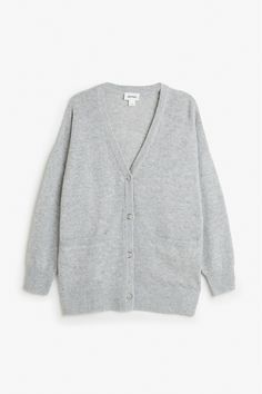 Monki Image 1 of Comfy cardigan in Grey Light