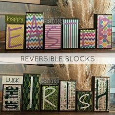 Reversible Easter AND St. Patricks Day Theme Home Decor Wood Blocks - Happy Easter / Luck of the Irish Measures approximately 8 at the tallest and approximately 21 wide. *Note: these are all separate blocks, none of them are attached together. You can find designs for each of these