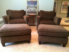 Workbench Club Chair in Chocolate Chenille w/Matching Ottoman