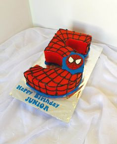https://flic.kr/p/DKmUE7 | Number 5 Spiderman themed birthday cake