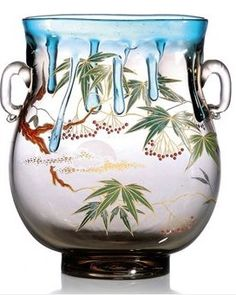 FRANÇOIS-EUGÈNE ROUSSEAU (1827-1891) JAPONISME VASE, CIRCA 1885 decorated with Japanese scene with moon and trees, with applied trails and applied handles 8¾ in. (22 cm.) high