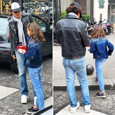 Even when picking up from school there's a Parisienne coolness to dress. Take this dad in @levis jeans and a vintage BSA leather jacket matching up with his daughter in a #jeanjacket and #Snoopy clutch.  #stylespotting #streetstyle #fashion #ootd #dad  #cool