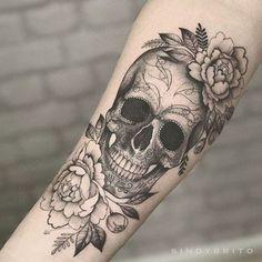 Day Of The Dead Skull Tattoo, Sugar Skull Girl Tattoo, Skull Sleeve Tattoos, Day Of The Dead Tattoo For Women, Day Of The Dead Tattoo Designs, Sugar Skull Sleeve, Skull Couple Tattoo, Skull Thigh Tattoos, Forearm Tattoos