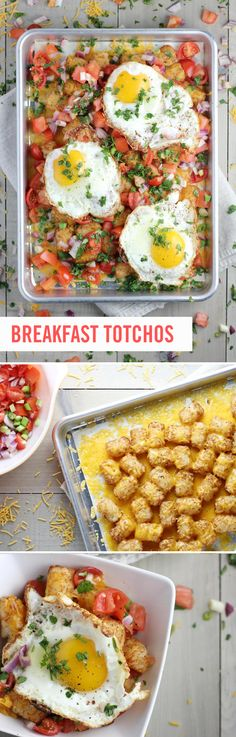 """What are """"totchos?"""" Think tater tots + nachos. The tater tots replace the tortilla chips in this dish, which is then loaded up with whatever your heart desires! You can make them pizza style, chili, bacon cheeseburger, and even chicken ranch totchos. This Breakfast Totchos recipe could not be easier — or more adaptable. #TaterTots"""