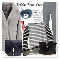 """Teddy Coats Grey"" by vkmd ❤ liked on Polyvore featuring ATM by Anthony Thomas Melillo, Boohoo, Banana Republic, Lime Crime, J.Crew, MICHAEL Michael Kors, UGG, Ray-Ban and teddybearcoats"