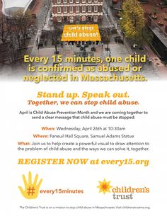Stand up and speak out to stop child abuse! Join us during Child Abuse Prevention Month. #every15minutes #stopchildabuse