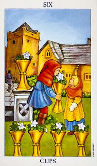 Six of Cups Tarot Card Meanings Keywords    Upright: Reunion, nostalgia, childhood memories, innocence    Reversed: Stuck in the past, naivety, unrealistic