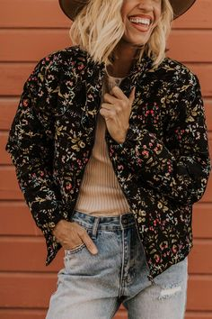 Black Floral Bomber Jacket - Fall Outfit Ideas - Chunky Winter Coats for Women | ROOLEE