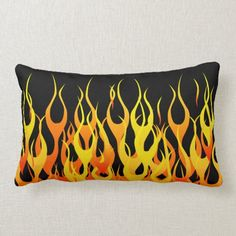 Classic Orange Racing Flames on Fire Lumbar Pillow  firefighter gifts, firefighter motivation, firefighter poem #fireacademy #goals #firefightingislife