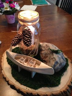 Nature and Scouting themed table centerpieces for Eagle Court of Honor