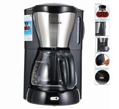 Philips Viva Coffee Maker HD7564 w/Glass Jug Aroma Swirl, Black and Metal #Philips
