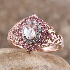 Natural Marropino Morganite, Pink Tourmaline, White Zircon Rose Gold Over Sterling Silver Ring (Size TGW cts. Morganite Jewelry, Morganite Ring, Fashion Jewelry, Women Jewelry, Size 10 Rings, Pink Tourmaline, Ring Designs, Jewelry Stores, Sterling Silver Rings