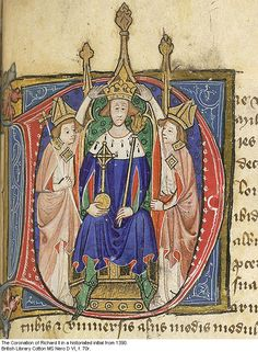 Coronation of Richard II, 16th July, 1377.  From an illuminated initial c. 1390.  What a sad child he is.