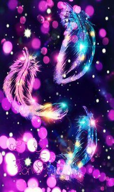 Falling feathers Pink Polka Dots Wallpaper, Purple Wallpaper, Cool Wallpaper, Cocoppa Wallpaper, Galaxy Wallpaper, Feather Wallpaper, Butterfly Wallpaper, Galaxy Background, Glitter Background