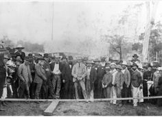 Crowd gathered for the official opening of a railway line, Maryborough, ca. 1887