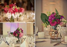Early June centerpieces with roses, ranunculus, snapdragons, stock, hosta foliage and breathtaking peonies. Photo by Creative Look Studios.