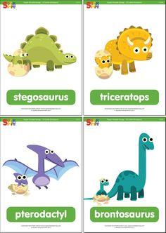 10 Little Dinosaurs Flashcards - Super Simple Dinosaur Songs For Preschool, Dinosaur Activities, Name Activities, Dinosaur Crafts, Cute Dinosaur, Preschool At Home, Dinosaurs Names And Pictures, Names Of Dinosaurs, Dinosaur Pictures