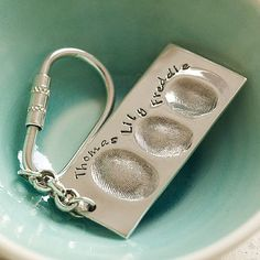 Personalized Silver Fingerprint Key Ring - what a thoughtful gift for a new parent/grandparent