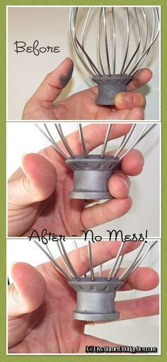 If you accidentally washed your kitchenaid mixer attachments in the dishwasher & now they leave gray streaks- here's how to Fix Oxidized Kitchen Utensils Deep Cleaning Tips, Household Cleaning Tips, Toilet Cleaning, House Cleaning Tips, Diy Cleaning Products, Spring Cleaning, Cleaning Hacks, Cleaning Vinegar, Cleaning Schedules