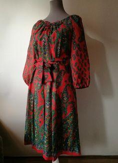 Kaufe meinen Artikel bei #Kleiderkreisel http://www.kleiderkreisel.de/damenmode/party-and-cocktail/163809446-weihnachtliches-kleid-true-vintage-paisley-muster-pfauenfeder-rot-grun-40