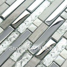 Interlocking Mosaic Tiles Stone Stainless Steel & Glass Blend Kitchen Backsplash Tile Crystal Coating Marble Tile Wall Stackers $252.89