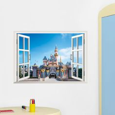 Exotic Beach View 3D Window Decal Castle WALL STICKER Home Decor
