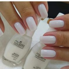 Milky nails, like the length Milky nails, like the length Perfect Nails, Gorgeous Nails, Pretty Nails, Rose Gold Nails, White Nails, Nail Pink, White Manicure, White Nail Polish, Pastel Nails