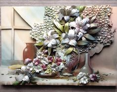 2015 Shadow Box, 3 D, Decoupage, Succulents, Beautiful Pictures, Floral Wreath, Clay, Wreaths, Awesome