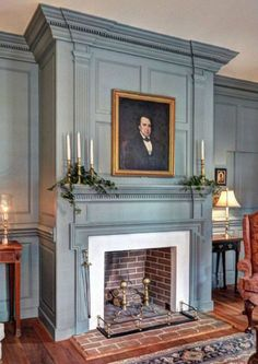 FARMHOUSE – INTERIOR – a classic colonial fireplace that can be found in many federal and georgian styled farmhouses. Primitive Homes, Fireplace Design, Fireplace Mantels, Fireplace Ideas, Mantle, Fireplace Fronts, Corner Fireplaces, Brick Fireplace, Estilo Colonial