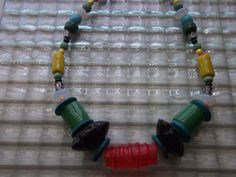 Red Green Blue Yellow Orange Chunky Bead Necklace by mscenna, $14.00
