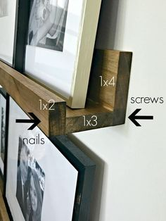 Barn look for WAY less Simple DIY picture frame ledges to fill odd w. - The Pottery Barn look for WAY less Simple DIY picture frame ledges to fill odd w. - How-to-Make-DIY-Photo-Ledges-Tutorial Easy picture-ledge shelves (and staining technique) Easy Home Decor, Handmade Home Decor, Cheap Home Decor, Home Decor Ideas, Marco Diy, Cadre Photo Diy, Diy Photo, Pottery Barn Look, Pottery Barn Kitchen
