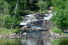 Camping at Rushing River Provincial Park. This photo shows the waterfalss at Rushing River. Kids will also love the Natural Heritage Program which offers a variety of nature-based activities designed for young people. Ontario Provincial Parks, Ontario Parks, River Park, Summer Travel, The Great Outdoors, Wilderness, Places To Visit, Tours, Sunset
